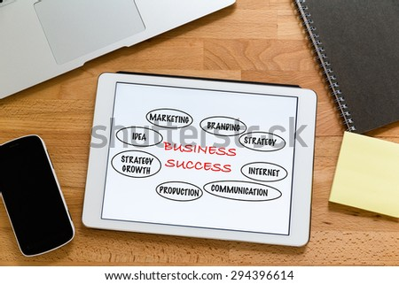 Working desk with digital tablet showing marketing success concept - stock photo