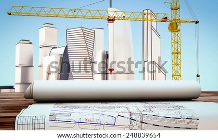 Working drawings on the table on the background of the city under construction. 3d render image. - stock photo