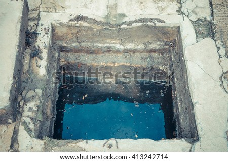 Working for drain cleaning. Problem with the drainage system. - stock photo