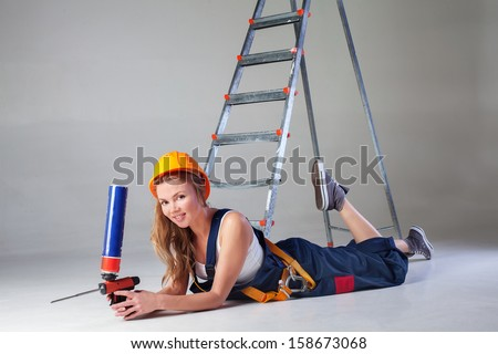 working girl with tools