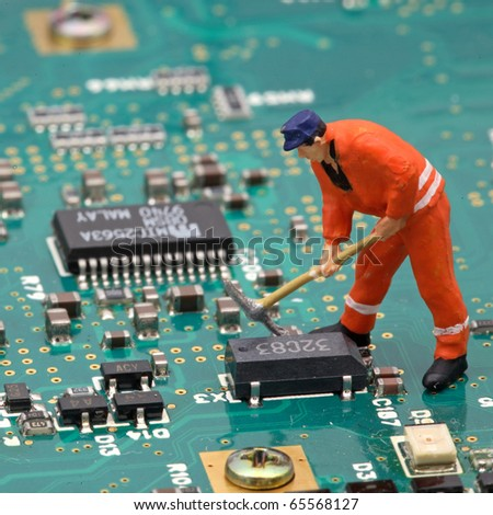 working in a electronic world - stock photo