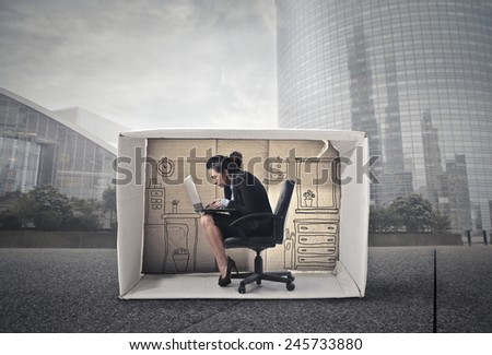 Working in a small office  - stock photo