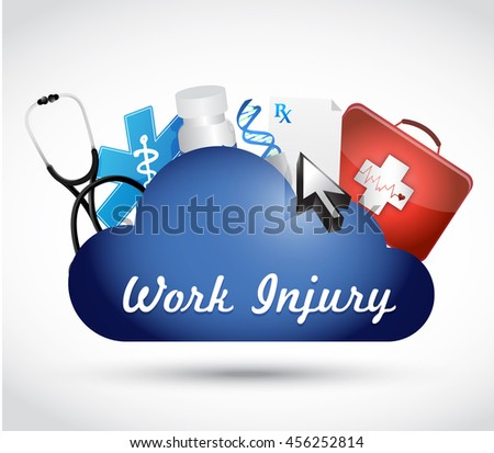 Working injury cloud network sign concept graphic illustration design