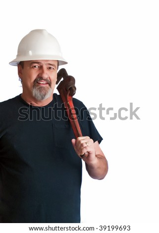 Working man ready to work on some broken pipes.