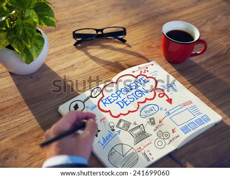 Working Notepad Responsive Design Creativity Idea Concept - stock photo