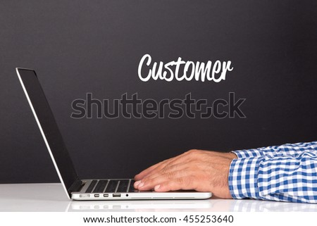 WORKING OFFICE COMMUNICATION PEOPLE USING COMPUTER CUSTOMER CONCEPT - stock photo