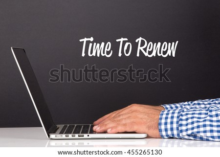 WORKING OFFICE COMMUNICATION PEOPLE USING COMPUTER TIME TO RENEW CONCEPT - stock photo