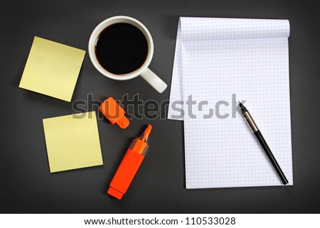 Working on a table. - stock photo