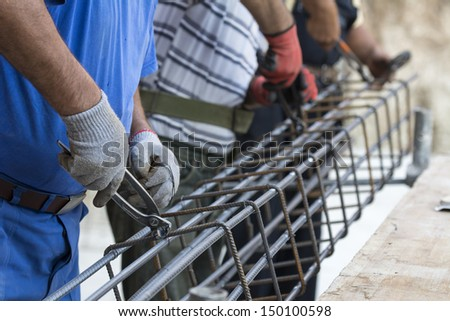 Working on construction site  - stock photo