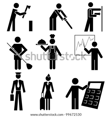 Working people, different occupations black icon set