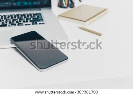 Working place, office desk - stock photo