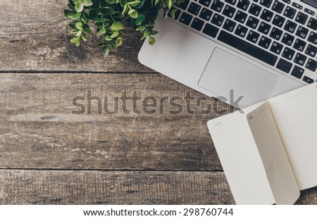 Working place, wooden table - stock photo
