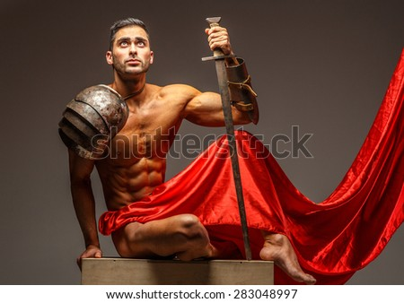 Working process in photo studio. Creating image of rome warrior