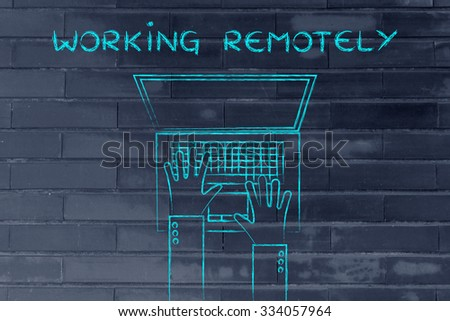 working remotely: flat style illustration of hands typing on a laptop