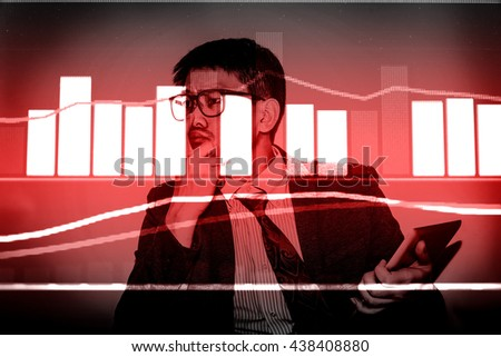 Working set for analyzing financial statistics and analyzing a market data. Data analyzing from charts and graph to find out the result. - Vintage tone. - stock photo