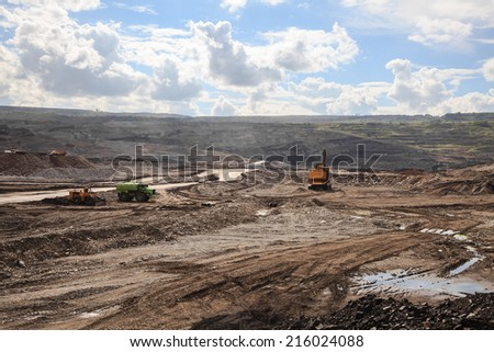 Working site at lignite mine in lampang, thailand - stock photo