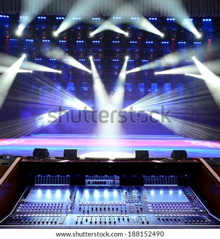 Working sound panel on the background of the concert stage - stock photo