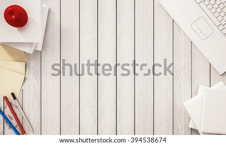 Working space, books, pen, papers, computer notebook, apple and other supplies on white wooden desk, 3d rendered - stock photo