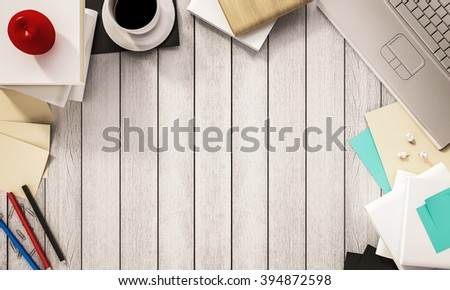 Working space,coffee cup books, pen, papers, computer notebook, apple and other supplies on white wooden desk, 3d rendered - stock photo