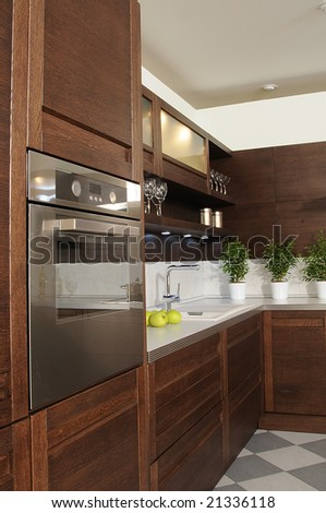 working spase on modern kitchen