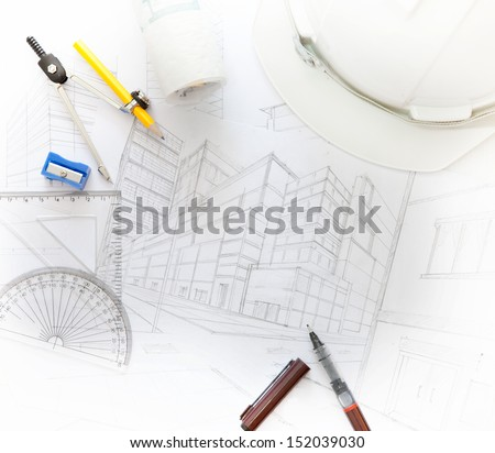 working table of architect with related equipment for multipurpose - stock photo