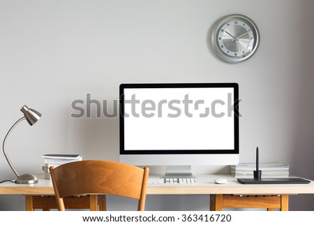 working table with computer - stock photo