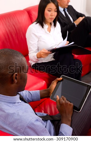 working team during a meeting