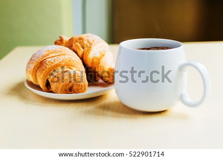 Working time, coffee break with some croissants