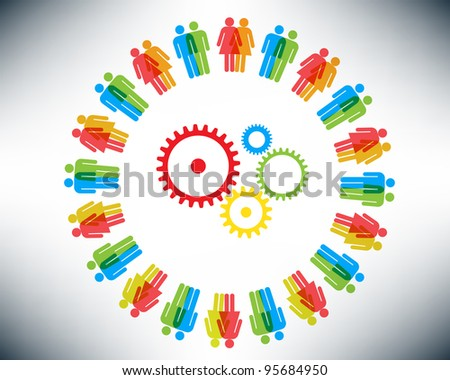 Working together team concept. Men and Women icon gears and cogwheels. Happy illustration version. - stock photo