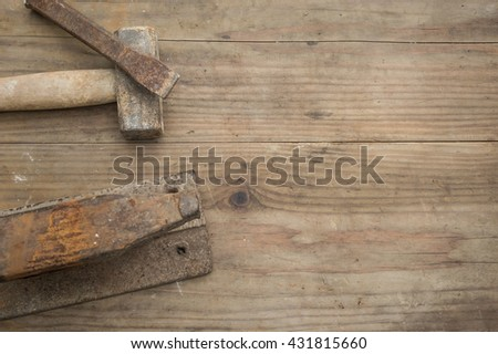 Working tool forge consisting of the anvil and hammer in wooden background