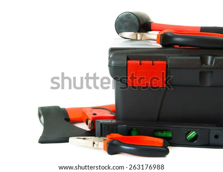 Working tools in box . Many working tools in the box on white background. - stock photo