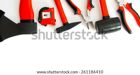 Working tools. Many working tools - axe, hammer, pliers and others on white background.