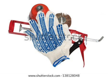 working tools on white background - stock photo
