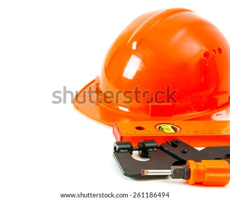 Working tools. Orange style. Working tools on a white background.
