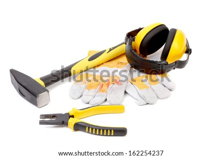 Working tools set. Isolated on a white background.