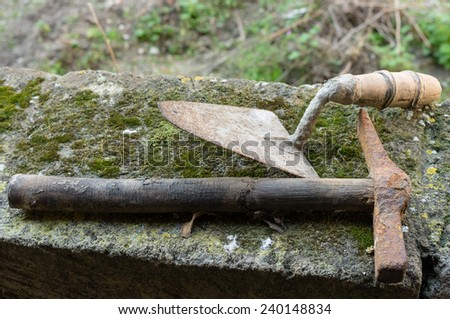 Working tools used by masons on construction sites - stock photo
