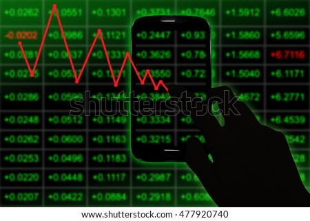 Working with digital and smart phone with red pointing business chart screen and digital business strategy layer effect and the digital chart. Green and dark Tone.