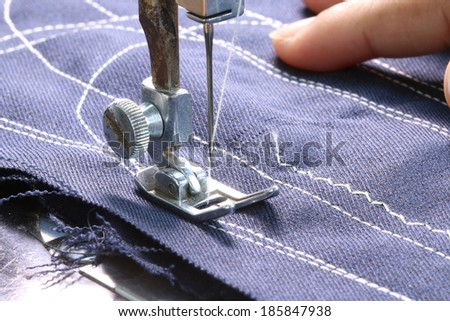 working with sewing machine, Close up. - stock photo