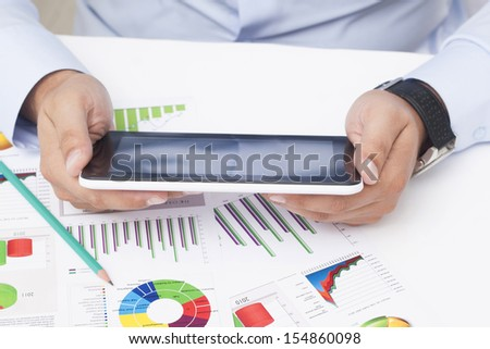 Working With Tablet - Stock Image - stock photo