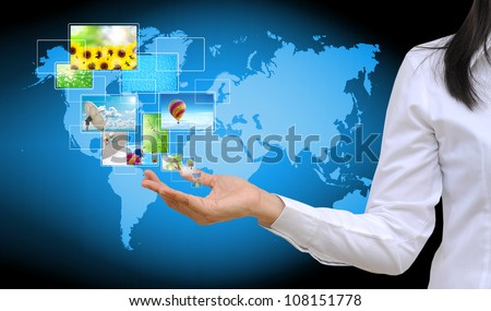 working women hand holding streaming images virtual buttons - stock photo