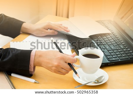 working women, Hands of women model working hard, Holding a coffee and information paper
