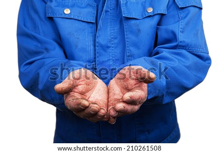 Workman with open hands - stock photo
