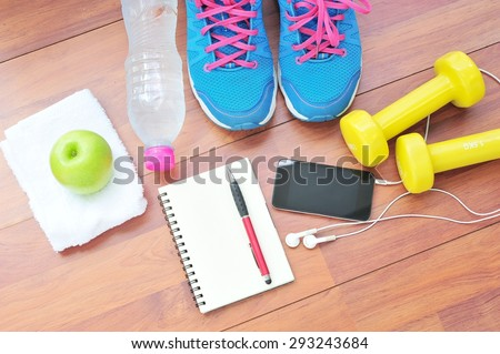 Workout and fitness dieting,Planning control diet concept. - stock photo