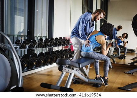 Workout Couple Sport-wear Muscular Hobby Concept - stock photo