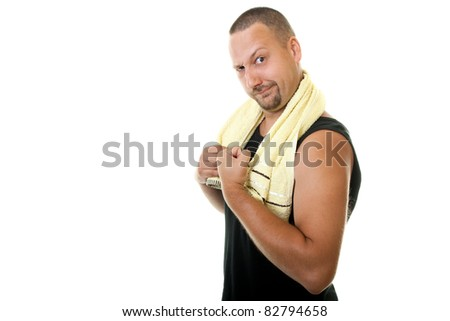 workout man holding towel after hard exercise - stock photo