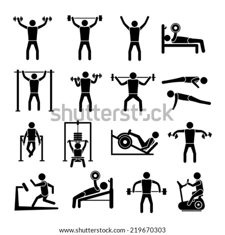Workout sport and fitness gym training icons black set isolated  illustration