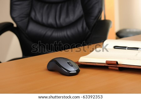 Workplace business person in the office. Diary and mouse