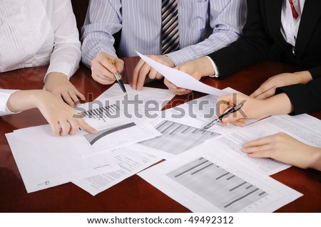 Workplace businessman. Hands of business people discussing a new project