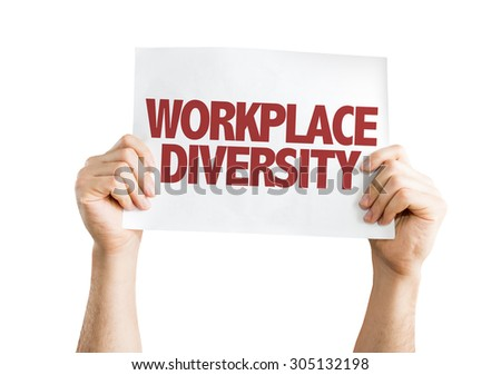 Workplace Diversity card isolated on white - stock photo