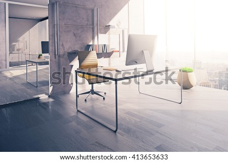 Workplace in sunlit office interior with mirror, wooden floor and concrete wall. 3D Rendering